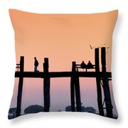 U-bein Bridge At Dawn Throw Pillow