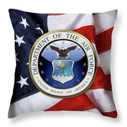 U. S.  Air Force  -  U S A F Emblem Over American Flag Throw Pillow