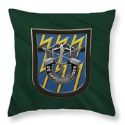 U. S.  Army 12th Special Forces Group - 12 S F G  Beret Flash Over Green Beret Felt Throw Pillow