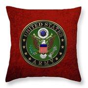 U. S.  Army Emblem Over Red Velvet Throw Pillow