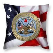 U. S. Army Seal Over American Flag. Throw Pillow