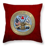 U. S. Army Seal Over Red Velvet Throw Pillow