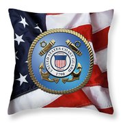 U. S. Coast Guard - U S C G Emblem Over American Flag Throw Pillow