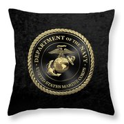 U S M C Emblem Black Edition Over Black Velvet Throw Pillow