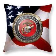 U S M C Emblem Over American Flag Throw Pillow