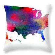 U S Map Color  Throw Pillow
