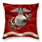 U. S.  Marine Corps - C O And Warrant Officer Eagle Globe And Anchor Over Corps Flag Throw Pillow