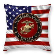 U. S.  Marine Corps - N C O   E G A Special Edition Over  U. S.  Flag Throw Pillow