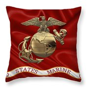U. S.  Marine Corps - N C O Eagle Globe And Anchor Over Corps Flag Throw Pillow