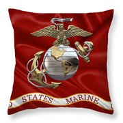 U. S.  Marine Corps - U S M C Eagle Globe And Anchor Over Corps Flag Throw Pillow