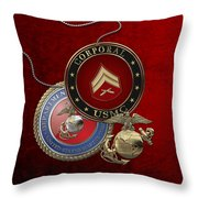 U. S.  Marines Corporal Rank Insignia Over Red Velvet Throw Pillow