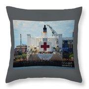 U S N Hospital Ship, Comfort In Boston's Dry Dock Throw Pillow