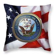 U. S.  Navy  -  U S N Emblem Over American Flag Throw Pillow