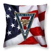 U. S. Navy S E A Ls - S E A L Team Seven  -  S T 7  Patch Over U. S. Flag Throw Pillow