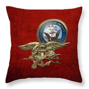 U. S. Navy S E A Ls Trident Over Red Velvet Throw Pillow