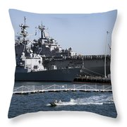 U S S Sampson And U S S Essex In San Diego Throw Pillow