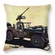 U. S.rmy Jeep With Assualt Weapons Throw Pillow