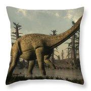Uberabatitan Dinosaur Walking Throw Pillow