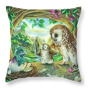 Ugly Duckling - Dragon Baby And Owls Throw Pillow