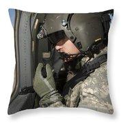Uh-60 Black Hawk Crew Chief Looking Throw Pillow