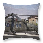 Uh-60 Black Hawk Helicopter At Pinal Throw Pillow
