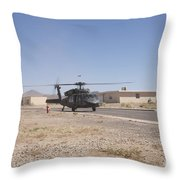 Uh-60 Black Hawk Helicopter Lands Throw Pillow