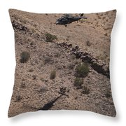 Uh-60 Black Hawk Hovers Above U.s Throw Pillow