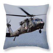 Uh-60a Black Hawk Medevac Helicopter Throw Pillow
