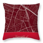 Uh Street Map - University Of Houston In Houston Map Throw Pillow