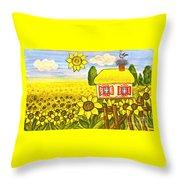 Ukrainian House With Sunflowers Throw Pillow