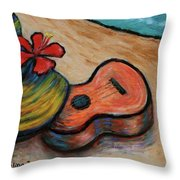 Ukulele And Hibiscus Flower On  A Hawaii Beach Throw Pillow