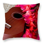 Ukulele And Red Flower Lei Throw Pillow