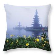 Ulu Danu Temple Throw Pillow