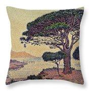 Umbrella Pines At Caroubiers Throw Pillow by Paul Signac