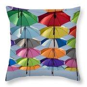 Umbrella Rainbow Throw Pillow