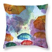 Umbrella Sky Throw Pillow