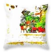 Umbrellas Hanging Outside The Front Door Throw Pillow
