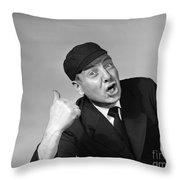 Umpire Making Out Signal, 1950s Throw Pillow