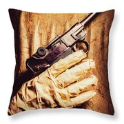 Undead Mummy  Holding Handgun Against Wooden Wall Throw Pillow