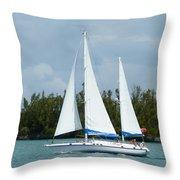 Under Full Sail Throw Pillow