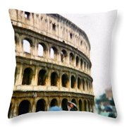 Under Pale Blue Umbrellas Throw Pillow