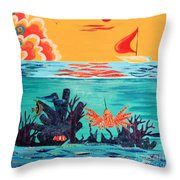 Bright Coral Reef Throw Pillow