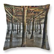 Under The Boardwalk Pier Sunbeams  Throw Pillow