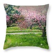 Under The Cherry Tree Throw Pillow
