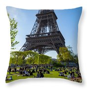 Under The Eiffel Tower, Paris Throw Pillow