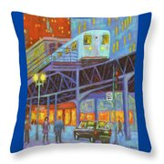 Under The El Tracks Throw Pillow