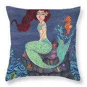 Under The Merlight Sea Throw Pillow