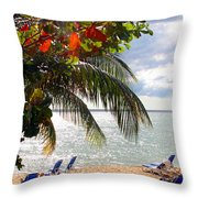 Under The Palms In Puerto Rico Throw Pillow