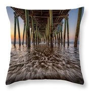 Under The Pier At Old Orchard Beach Throw Pillow