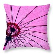 Under The Pink Umbrella Throw Pillow
